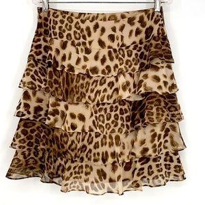 Talbots Petites cheetah tiered ruffle skirt